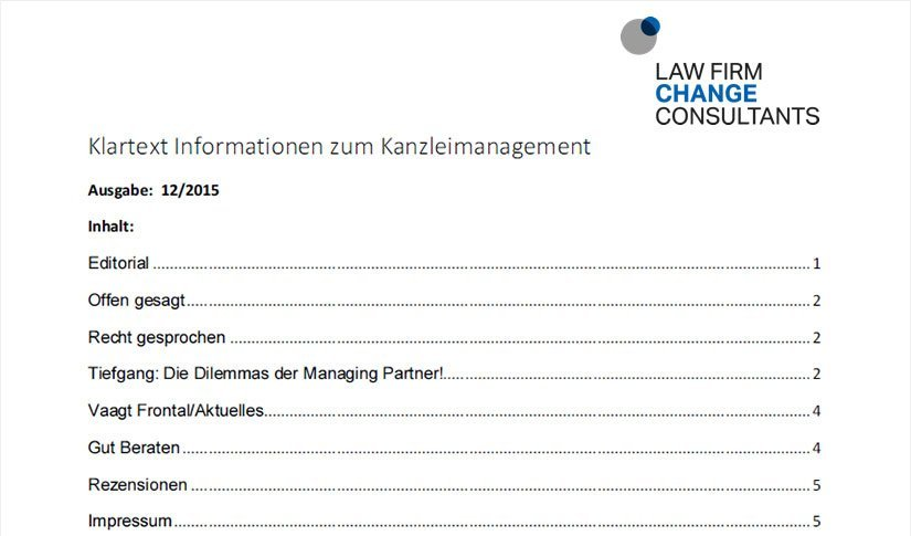 Newsletter Law Firm Change Consultants